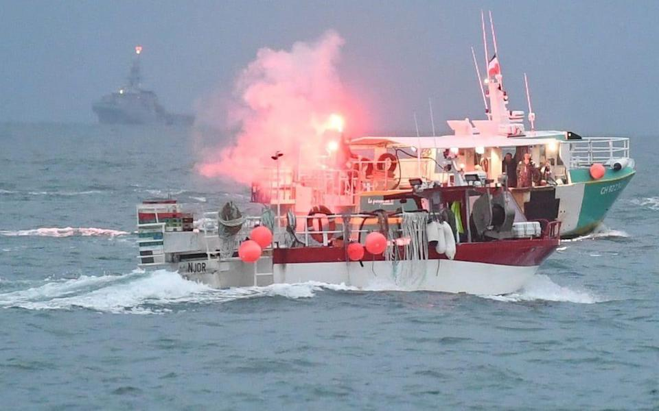 A flotilla of fishing vessels are seen in St Helier harbour, Jersey as French fishermen protest post Brexit changes to fishing in the area - Jersey Evening Post / SWNS /Jersey Evening Post / SWNS