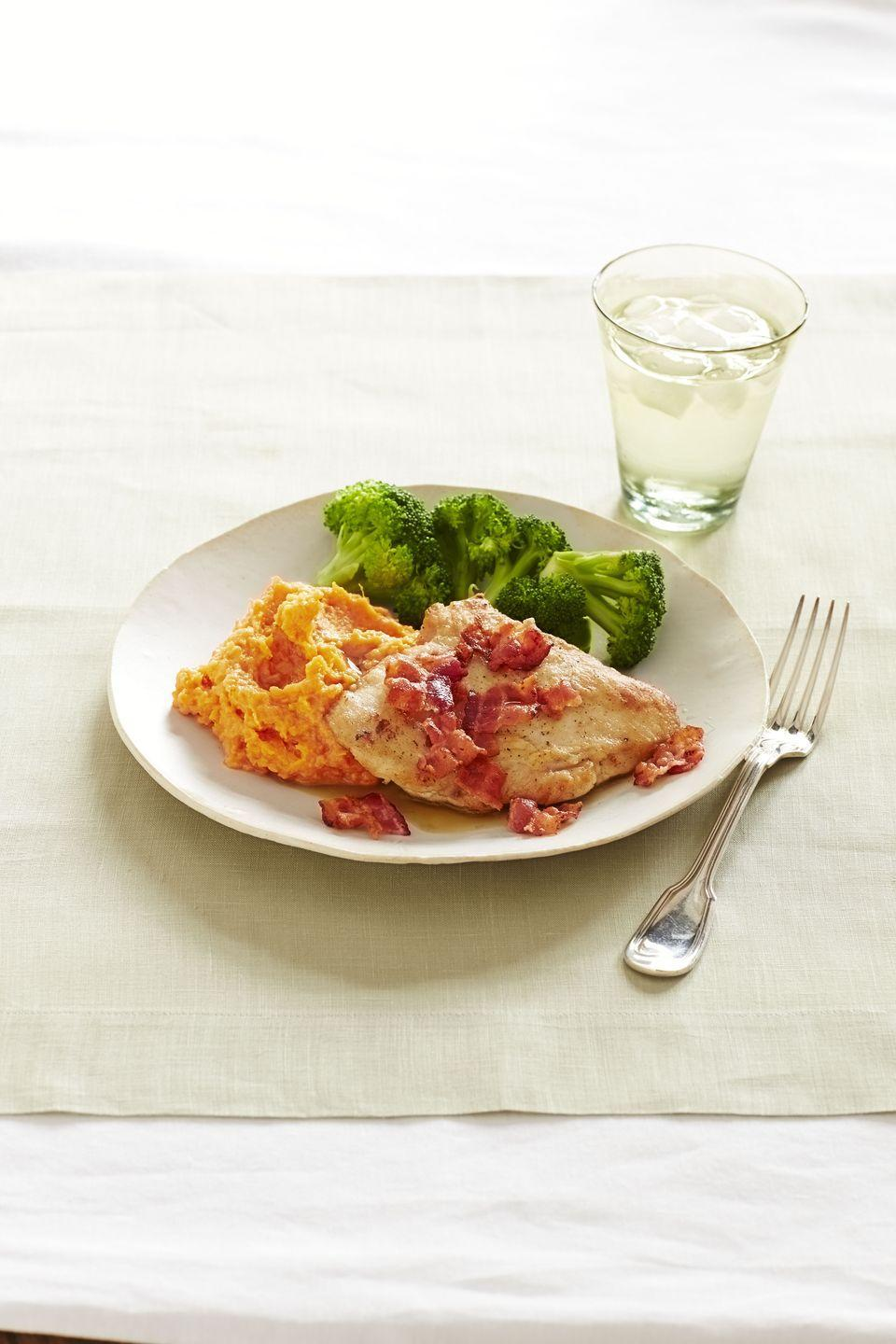 """<p>Shake things up by reimagining a classic chicken breast dinner with a flavorful side of sweet potatoes in place of regular spuds. </p><p><a href=""""https://www.goodhousekeeping.com/food-recipes/a14603/bacon-chicken-cutlets-sweet-potato-mash-recipe-ghk1113/"""" rel=""""nofollow noopener"""" target=""""_blank"""" data-ylk=""""slk:Get the recipe for Bacon Chicken Cutlets with Sweet Potato Mash »"""" class=""""link rapid-noclick-resp""""><em>Get the recipe for Bacon Chicken Cutlets with Sweet Potato Mash »</em></a></p>"""