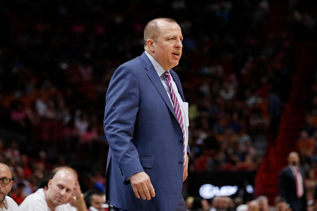 Tom Thibodeau struggled to handle his dual role with the Timberwolves. (Getty)