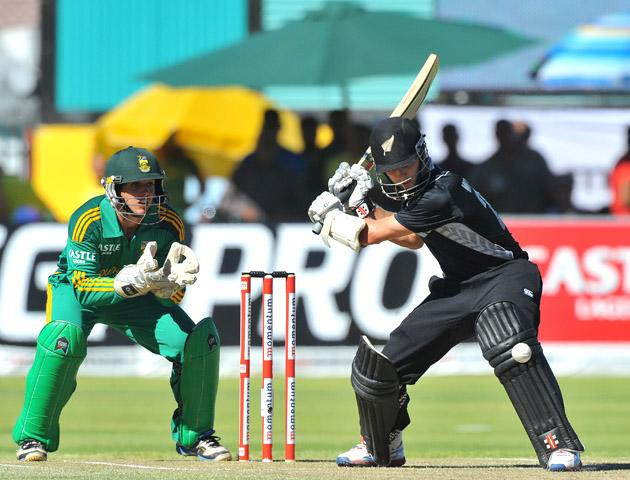 Kane Williamson of New Zealand about to hit a boundary during the 2nd One Day International match between South Africa and New Zealand at De Beers Diamond Oval on January 22, 2013 in Kimberley, South Africa.(Photo by Duif du Toit/Gallo Images/Getty Images)