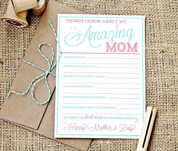 """<p>We adore this fill-in-the-blank printable for all ages, but especially for little ones. Mom is sure to cherish their funny answers and sweet handwriting for years and years to come! The craft paper envelope secured with baker's twine is a darling finishing touch.</p><p><strong>Get the printable at <a href=""""https://koriclark.com/2012/05/02/mothers-day-free-printable-cards/"""" rel=""""nofollow noopener"""" target=""""_blank"""" data-ylk=""""slk:Kori Clark"""" class=""""link rapid-noclick-resp"""">Kori Clark</a>. </strong></p><p><a class=""""link rapid-noclick-resp"""" href=""""https://www.amazon.com/Cotton-Bakers-Christmas-Holiday-Wrapping/dp/B08F9HD4SS/?tag=syn-yahoo-20&ascsubtag=%5Bartid%7C10050.g.3195%5Bsrc%7Cyahoo-us"""" rel=""""nofollow noopener"""" target=""""_blank"""" data-ylk=""""slk:SHOP BAKER'S TWINE"""">SHOP BAKER'S TWINE</a><br></p>"""