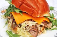 """<p>Of course you can't get through a list of sandwich recipes without pulled pork. Like any good pulled pork recipe, this one requires you let the meat slow cook for eight hours. Make it the night before and by morning you'll have a week's worth of dinner in the Crock-Pot.</p> <p><a href=""""https://www.thedailymeal.com/pulled-pork-sandwich?referrer=yahoo&category=beauty_food&include_utm=1&utm_medium=referral&utm_source=yahoo&utm_campaign=feed"""" rel=""""nofollow noopener"""" target=""""_blank"""" data-ylk=""""slk:For the Pulled Pork Sandwich recipe, click here."""" class=""""link rapid-noclick-resp"""">For the Pulled Pork Sandwich recipe, click here.</a></p>"""