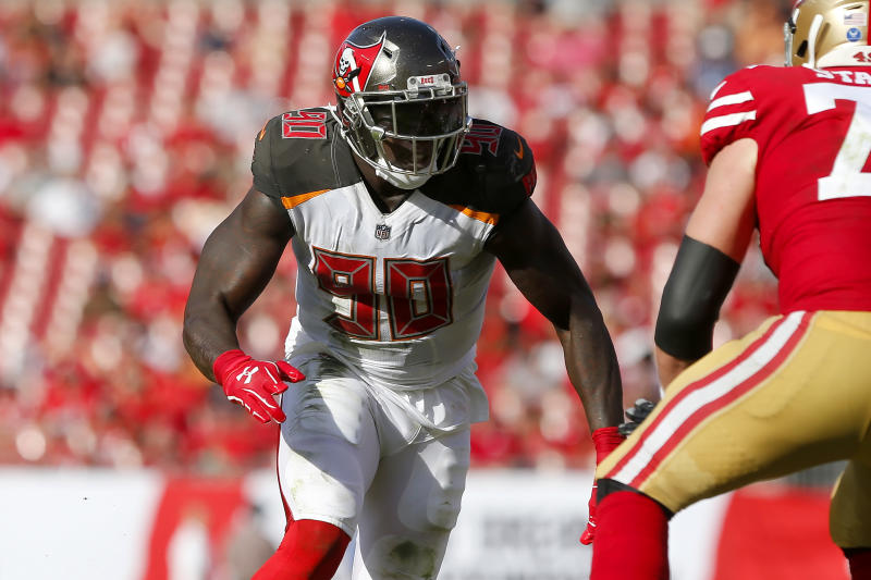Jason Pierre-Paul is back on the Buccaneers' active roster six months after neck surgery. (Photo by Cliff Welch/Icon Sportswire via Getty Images)