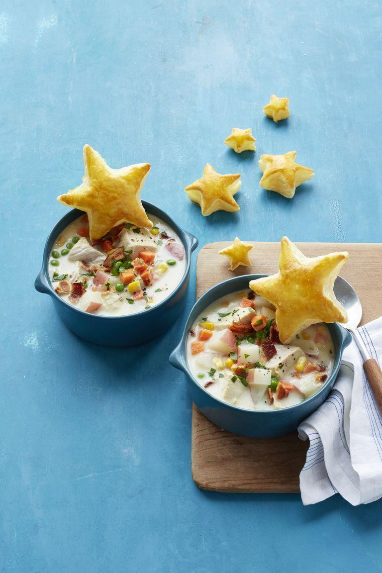 """<p>Skip the chicken in Step 2 and simmer leftover turkey into the finished soup.</p><p><em><a href=""""https://www.womansday.com/food-recipes/food-drinks/recipes/a55758/chicken-pot-pie-chowder-recipe/"""" rel=""""nofollow noopener"""" target=""""_blank"""" data-ylk=""""slk:Get the recipe from Woman's Day »"""" class=""""link rapid-noclick-resp"""">Get the recipe from Woman's Day »</a></em></p>"""