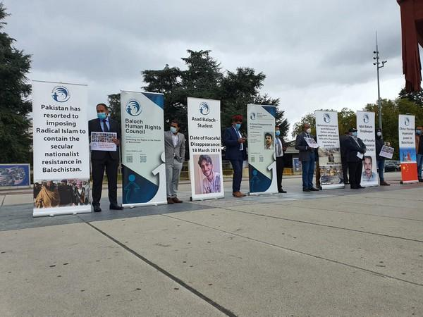 The Baloch Human Rights Council (BHRC) and the World Sindhi Congress (WSC) held a joint protest outside the UN building at the Broken Chair in Geneva (Photo/ANI)