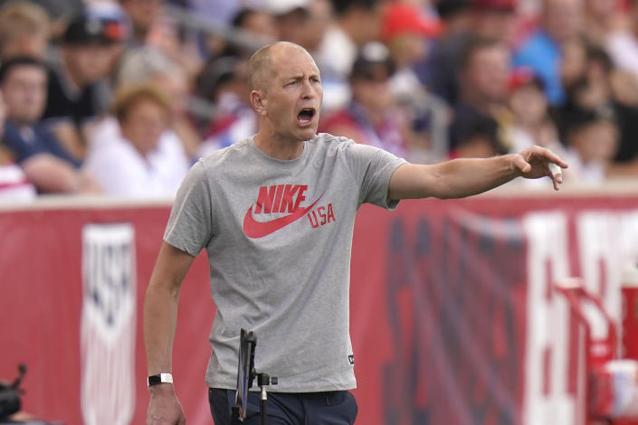 United States head coach Gregg Berhalter shouts to his team in the first half during an international friendly soccer match against Costa Rica Wednesday, June 9, 2021, in Sandy, Utah. (AP Photo/Rick Bowmer)