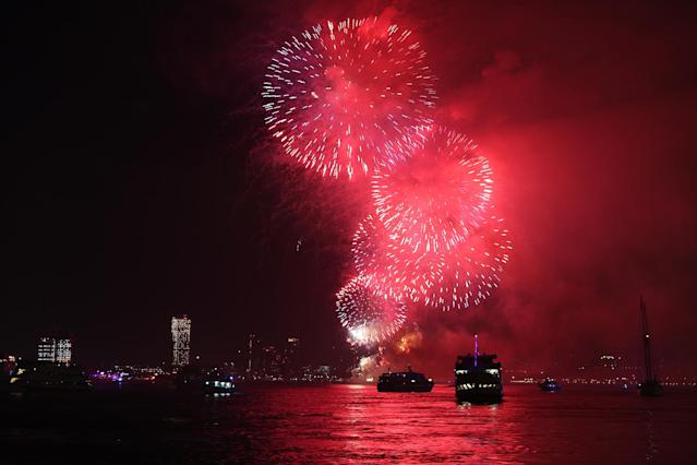 <p>Fireworks explode over the East River during the Macy's Fourth of July fireworks celebration on Tuesday, July 4, 2017 in New York City. (Gordon Donovan/Yahoo News) </p>