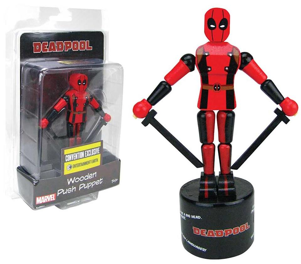 """<p>The <a rel=""""nofollow"""" href=""""https://www.yahoo.com/movies/tagged/deadpool"""" data-ylk=""""slk:Merc with a Mouth"""" class=""""link rapid-noclick-resp"""">Merc with a Mouth</a> in the palm of your hand… <a rel=""""nofollow"""" href=""""https://www.yahoo.com/movies/tagged/spider-man"""" data-ylk=""""slk:Spider-Man"""" class=""""link rapid-noclick-resp"""">Spider-Man</a> and <a rel=""""nofollow"""" href=""""https://www.yahoo.com/movies/tagged/batman"""" data-ylk=""""slk:Batman"""" class=""""link rapid-noclick-resp"""">Batman</a> versions sold separately. (Photo: Entertainment Earth) </p>"""