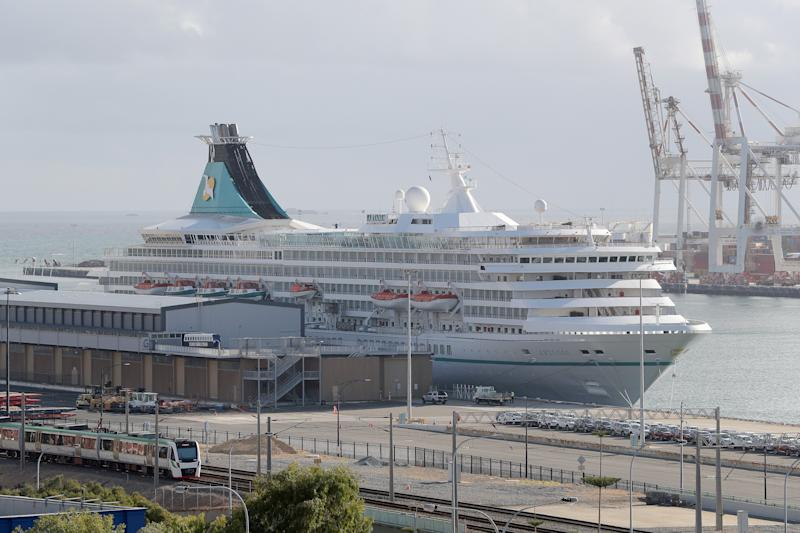 The cruise ship Artania is seen docked in Fremantle harbour in Fremantle on Friday, March 27, 2020. Source: AAP
