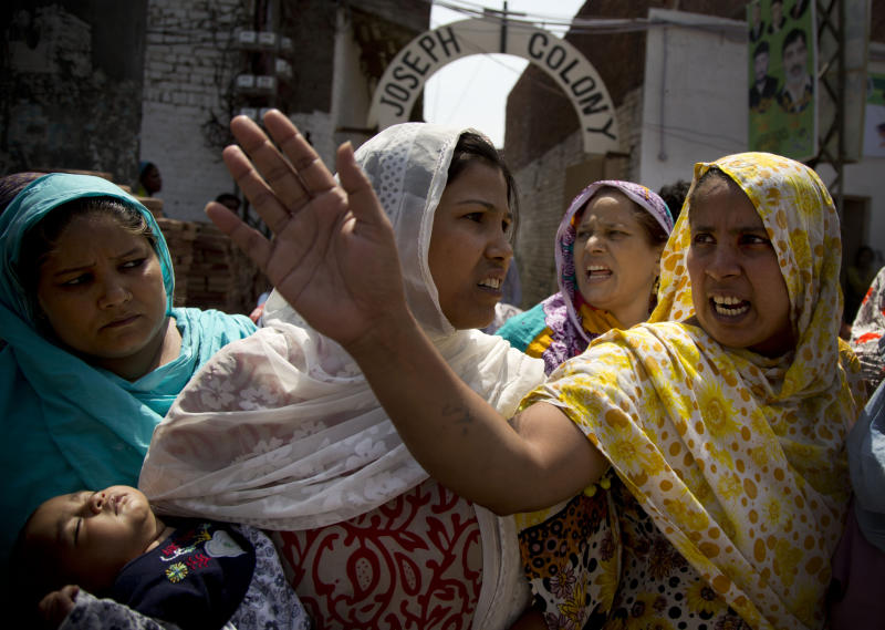 This Tuesday, April 30, 2013 photo shows angry Pakistani Christians protesting the beating of a young Christian man belonging to the Joseph Colony in Lahore, Pakistan. Minority Christians in Pakistan have little hope that the May 11, 2013 general elections will help them. Christians are part of the four percent of Pakistanis who belong to minority religions. (AP Photo/Anja Niedringhaus)