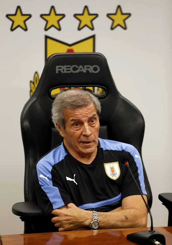 Football Soccer - Uruguay's national soccer team training - World Cup 2018 Qualifiers - Montevideo, Uruguay - 20/3/17 - Uruguay's head coach Oscar Washington Tabarez attends a news conference after a training session. REUTERS/Andres Stapff