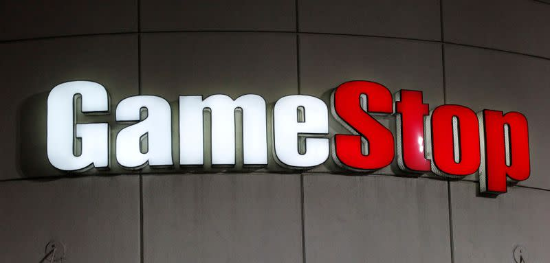 FILE PHOTO: FILE PHOTO: FILE PHOTO: A GameStop sign is pictured in Pasadena, California