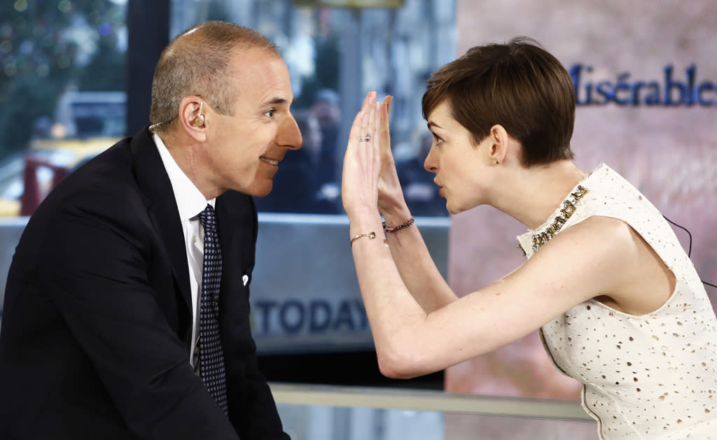 "TODAY -- Pictured: (l-r) Matt Lauer and Anne Hathaway appear on NBC News' ""Today"" show -- (Photo by: Peter Kramer/NBC/NBC NewsWire)"