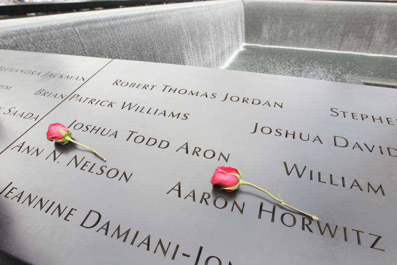 Roses lay on the north pool placed by Dawn Nelson in memory of her sister Ann N. Nelson and Aaron Horwitz at the National September 11 Memorial during a ceremony marking the 10th anniversary of the attacks at World Trade Center, Sunday, Sept. 11, 2011 in New York.  (AP Photo/Mary Altaffer)
