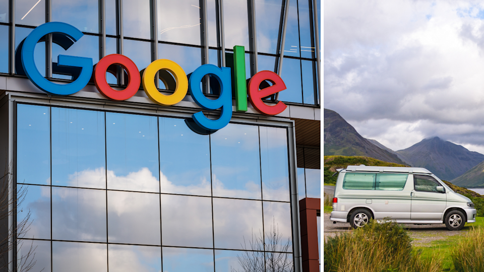 A Google sign on the exterior of an office building and a van.