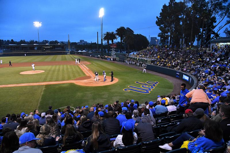 LOS ANGELES, CA - JUNE 07: General view of Jackie Robinson Stadium during game 1 of the NCAA Super Regional between the UCLA Bruins and the Michigan Wolverines on June 7, 2019 in Los Angeles, California. The Michigan Wolverines defeated the UCLA Bruins 3-2. (Photo by Jayne Kamin-Oncea/Getty Images)