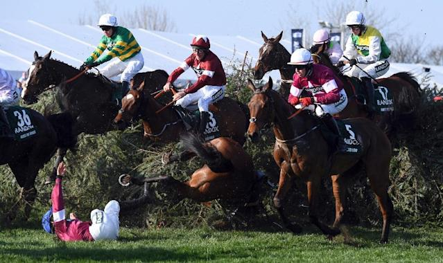 Leading man: Jockey Davy Russell on Tiger Roll (2nd left, maroon colours) (AFP Photo/Paul ELLIS)