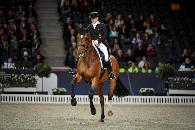 Equestrian - Sweden International Horse Show - Fei Grand Prix Dressage Qualification Event - Friends Arena, Stockholm, Sweden - December 2, 2017. Isabell Werth of Germany rides her horse Emilio 107. TT News Agency/Jessica Gow via REUTERS ATTENTION EDITORS - THIS IMAGE WAS PROVIDED BY A THIRD PARTY. SWEDEN OUT. NO COMMERCIAL OR EDITORIAL SALES IN SWEDEN