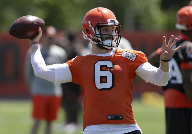 Cleveland Browns quarterback Baker Mayfield throws during a practice at the NFL football team's training camp facility, Wednesday, May 23, 2018, in Berea, Ohio. (AP Photo/Tony Dejak)