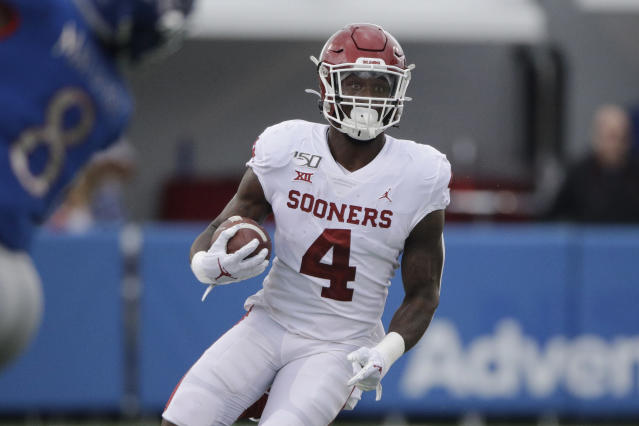 Oklahoma running back Trey Sermon had just nine carries in his final five games of the 2019 season. (AP Photo/Charlie Riedel)