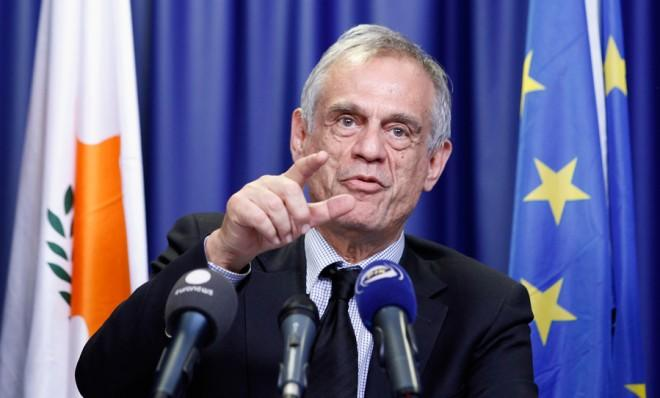 Cyprus' Finance Minister Michalis Sarris speaks during the Eurogroup meeting in Brussels on March 25.