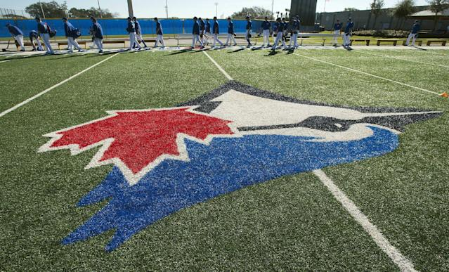 The Toronto Blue Jays walk onto the field for their first official day of spring training baseball practice on Monday, Feb. 17, 2014, in Dunedin, Fla. (AP Photo/The Canadian Press, Frank Gunn)