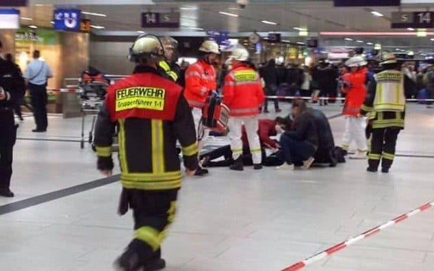 Emergency services at the scene of the attack in Dusseldorf station - Credit: Gerhard Berger