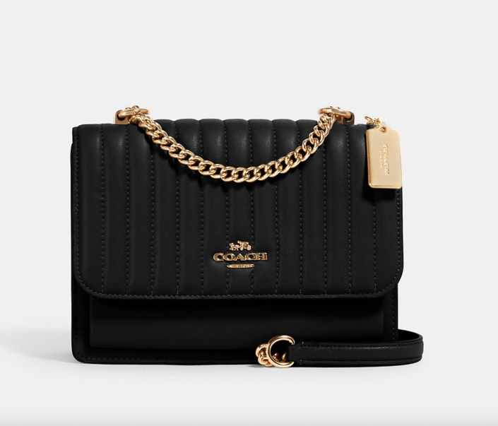 black Klare Crossbody with Linear Quilting and gold hardware