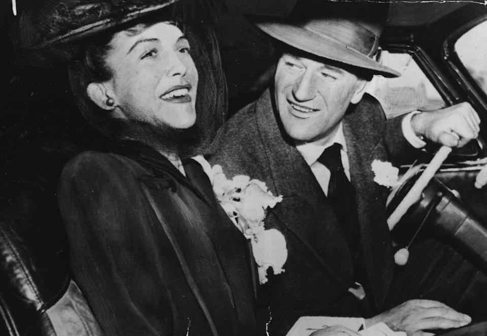 """<p>The western movie star walked down the aisle with Mexican beaut Esperanza Baur in 1946. The marriage marked the second time Wayne said """"I do"""" and the couple divorced in 1954. He later went on to marry actress Pilar Pallete the same year, and the two separated in 1973.</p>"""