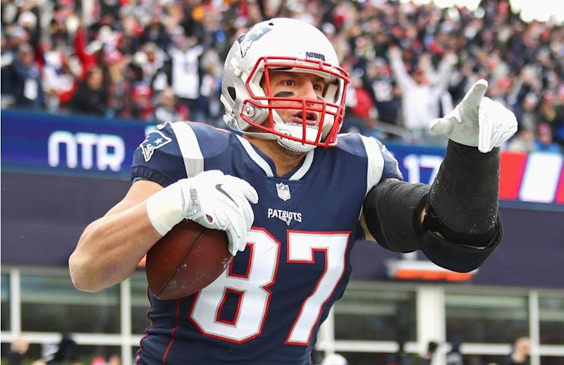 Rob Gronkowski reacts after catching one of his 79 career touchdown passes. | Tim Bradbury/Getty