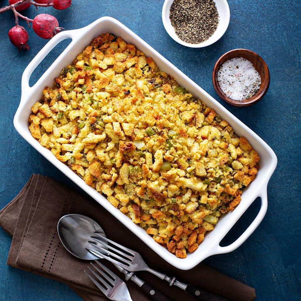 "<p>Many families wouldn't dare pit <a href=""https://www.goodhousekeeping.com/holidays/thanksgiving-ideas/g1355/turkey-stuffing-recipes/"" rel=""nofollow noopener"" target=""_blank"" data-ylk=""slk:grandma's stuffing recipe"" class=""link rapid-noclick-resp"">grandma's stuffing recipe</a> against the store-bought kind, others swear by it. <em>Good Housekeeping</em>'s parenting and relationships editor Marisa LaScala has a great compromise. ""A couple days before Thanksgiving, we go to the deli and get sliced turkey and make Stove-Top-and-turkey sandwiches to indulge our guilty pleasure,"" she says. If you've got your own secret fav, enjoy it a few days before or after the big day, to avoid stirring the pot.<br></p>"