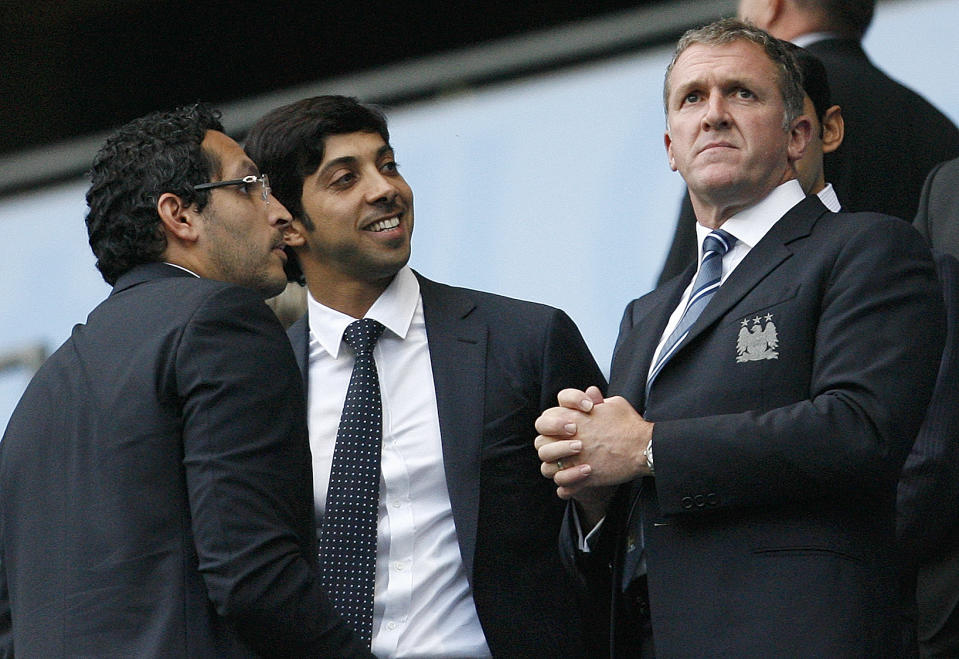 Football - Manchester City v Liverpool Barclays Premier League - The City of Manchester Stadium - 10/11 - 23/8/10  Manchester City Chairman Khaldoon Al Mubarak, Owner Sheikh Mansour (C) and Chief Executive Garry Cook (R) before the match  Mandatory Credit: Action Images / Paul Thomas  Livepic  NO ONLINE/INTERNET USE WITHOUT A LICENCE FROM THE FOOTBALL DATA CO LTD. FOR LICENCE ENQUIRIES PLEASE TELEPHONE +44 (0) 207 864 9000.