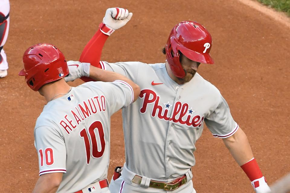 WASHINGTON, DC - SEPTEMBER 23:  Bryce Harper #3 of the Philadelphia Phillies celebrates hitting a solo home run in the first inning with J.T. Realmuto #10 during a baseball game against the Washington Nationals at Nationals Park on September 23, 2020 in Washington, DC.  (Photo by Mitchell Layton/Getty Images)
