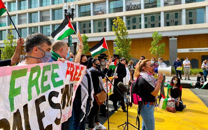 People protest against the Abraham Accords in Washington (file photo) - DANIEL SLIM/AFP via Getty Images
