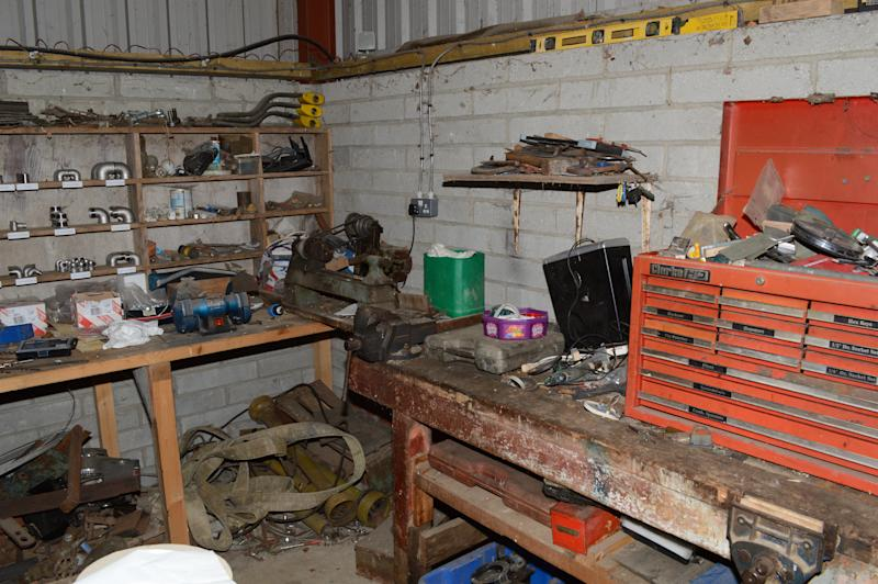 Nigel Wright's workshop. The farmer from Market Rasen, Lincolnshire, hatched a plot to get rich by deliberately contaminating jars of Heinz baby food between May 2018 and February 2020. (SWNS)
