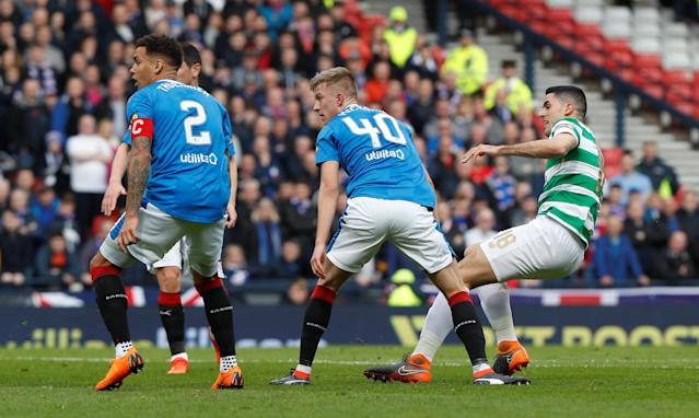 Soccer Football - Scottish Cup Semi Final - Celtic vs Rangers - Hampden Park, Glasgow, Britain - April 15, 2018 Celtic's Tom Rogic scores their first goal REUTERS/Russell Cheyne