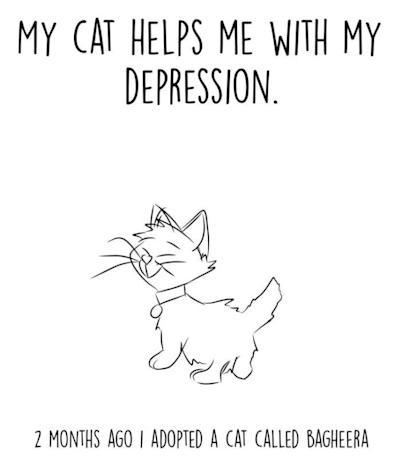 "Yash Pandit's comic, ""My cat helps me with my depression"""