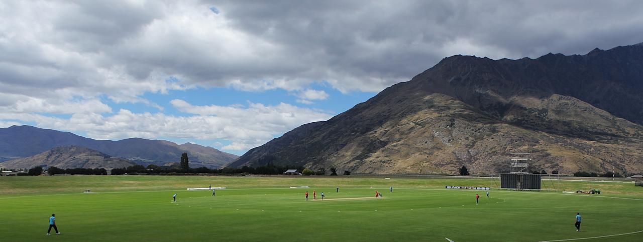 QUEENSTOWN, NEW ZEALAND - JANUARY 13:  A general view of the Queenstown Events Centre during the ICC Cricket World Cup Qualifier match between Scotland and Hong Kong on January 13, 2014 in Queenstown, New Zealand.  (Photo by Teaukura Moetaua-IDI/ICC via Getty Images)