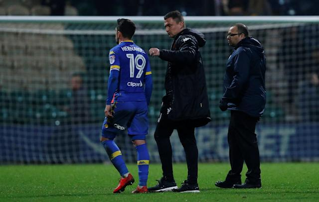 "Soccer Football - Championship - Preston North End vs Leeds United - Deepdale, Preston, Britain - April 10, 2018 Leeds United manager Paul Heckingbottom with Pablo Hernandez after the match Action Images/Craig Brough EDITORIAL USE ONLY. No use with unauthorized audio, video, data, fixture lists, club/league logos or ""live"" services. Online in-match use limited to 75 images, no video emulation. No use in betting, games or single club/league/player publications. Please contact your account representative for further details."