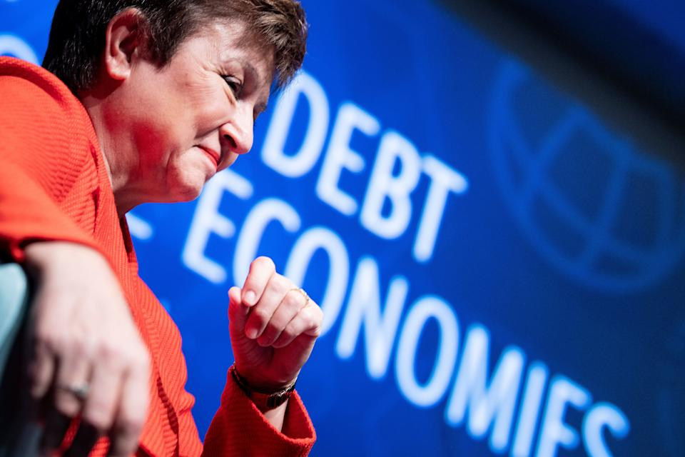 International Monetary Fund Managing Director Kristalina Georgieva listens during an event at the World Bank February 10, 2020, in Washington, DC. (Photo by Brendan Smialowski / AFP) (Photo by BRENDAN SMIALOWSKI/AFP via Getty Images)