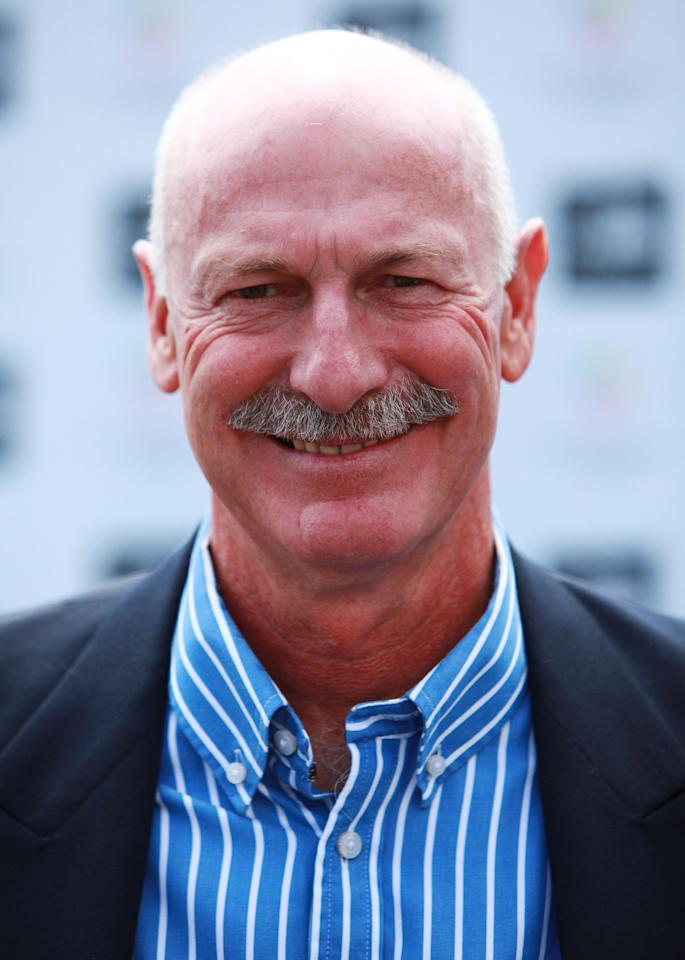 SYDNEY, AUSTRALIA - OCTOBER 13:  Dennis Lillee arrives at the Wharf4Ward cancer fundraiser on October 13, 2011 in Sydney, Australia.  (Photo by Don Arnold/WireImage)