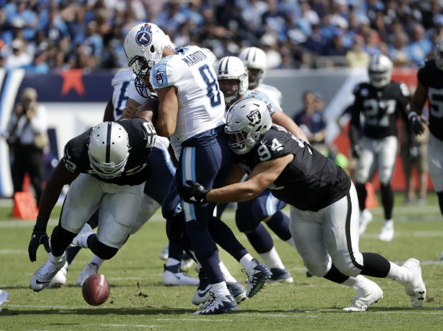 Oakland's defense had a surprisingly good day against Marcus Mariota and friends in opening week. Expect the Raiders to absolutely feast on the Jets in Week 2. (AP Photo/James Kenney)