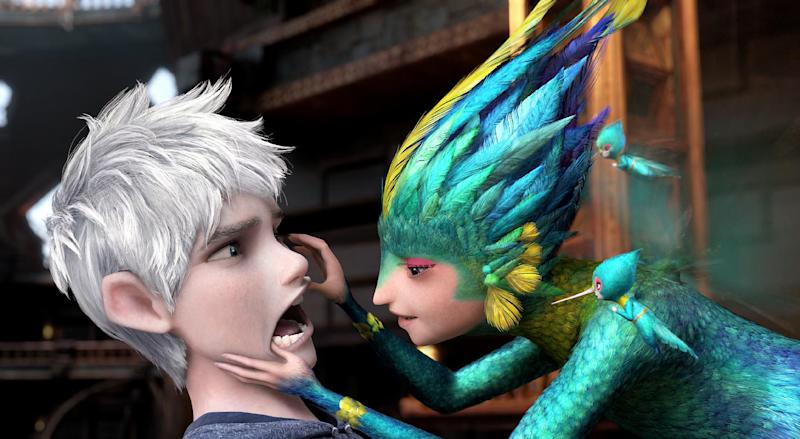 """This image released by Paramount Pictures shows Jack Frost, voiced by Chris Pine, left, and Tooth, voiced by Isla Fisher in a scene from """"Rise of the Guardians."""" (AP Photo/Paramount Pictures, DreamWorks Animation)"""