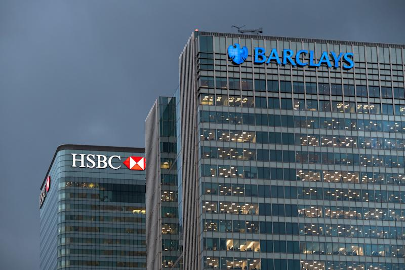 The London headquarters of HSBC and Barclays banks, at Canary Wharf in east London. Many banks are moving assets from London to other EU cities in the face of uncertainty over Brexit. Picture date: Monday December 3, 2018. Photo credit should read: Matt Crossick/ EMPICS Entertainment.