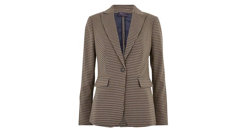Slim Checked Single Breasted Blazer