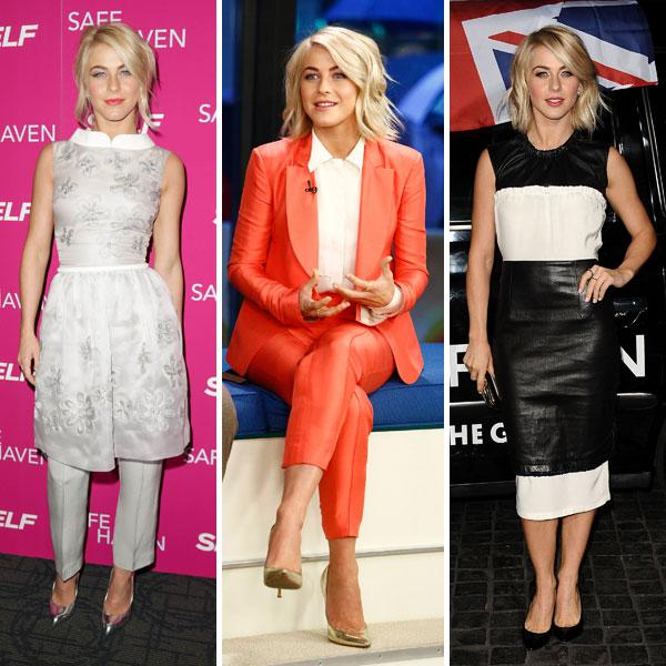 <b>Julianne Hough </b><br><br>The Safe Haven actress impressed us with her fashion choices on the film's promo trail this week. She took a fashion risk in a Georges Hobeika trouser suit (left) and a monochrome leather dress (right) but it was her Diane Von Furstenberg coral suit (centre) that won us over.<br><br>Images © Rex / Getty