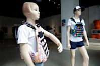 """Mannequins wearing a bullet proof vests are seen as part of an art installation by artist WhIsBe titled """"Back to School Shopping"""" to illustrate the dangers of gun violence in schools, at a gallery in New York City"""