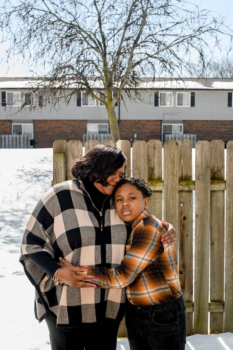 "Tamara Brown and her son near their home in Southfield, Mich.<span class=""copyright"">Brittany Greeson for TIME</span>"