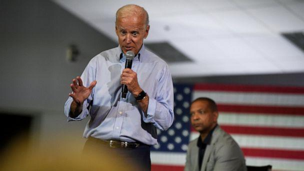 PHOTO: Democratic presidential candidate and former Vice President Joe Biden speaks at a town hall on Sunday, July 7, 2019, in Charleston, S.C., as state Sen. Marlon Kimpson looks on. (AP Photo/Meg Kinnard)
