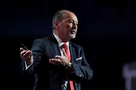 FILE PHOTO: Peter Moore, CEO of Liverpool FC gestures during the Dubai International Sports Conference in Dubai